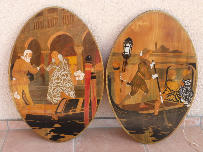Sorrento intarsia paintings - Muurlamp (2) - Hout