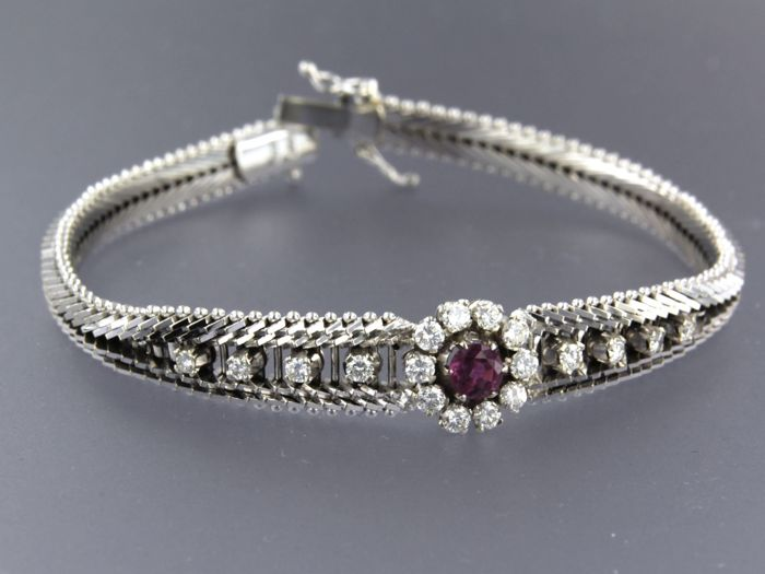 14 kt. White gold - Bracelet - 0.70 ct Diamond - Ruby