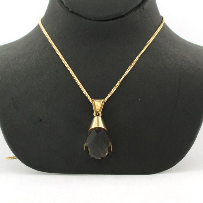 14 kt. Yellow gold - Necklace with pendant smoke quartz