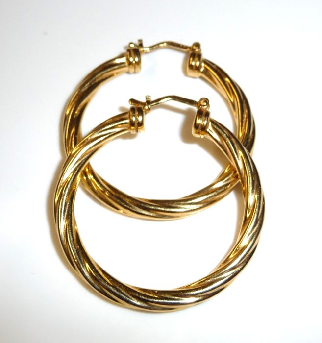 14 kt. Gold - Earrings, Large hoops twisted cord look 40 mm long - Italy