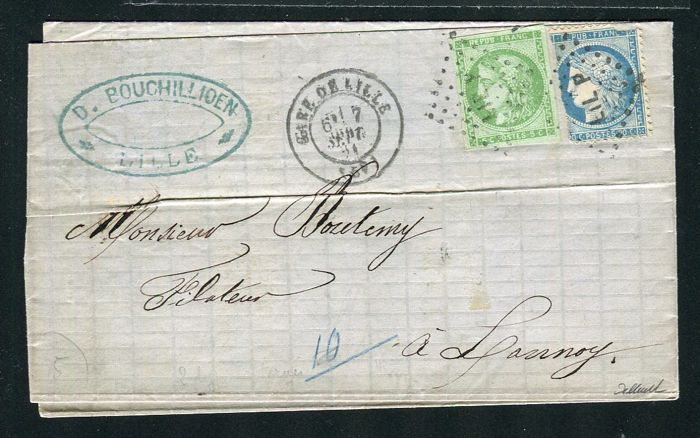 France 1871 - Letter from the train station of Lille to Lannoy avec les yvert n° 37 & 42B - Possible fraude postale
