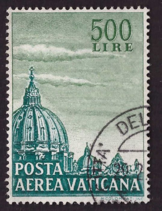 Vatican City 1958 - 500 lire green airmail perf. 14 x 14 1/4 comb-shaped - Sassone N. 33/I