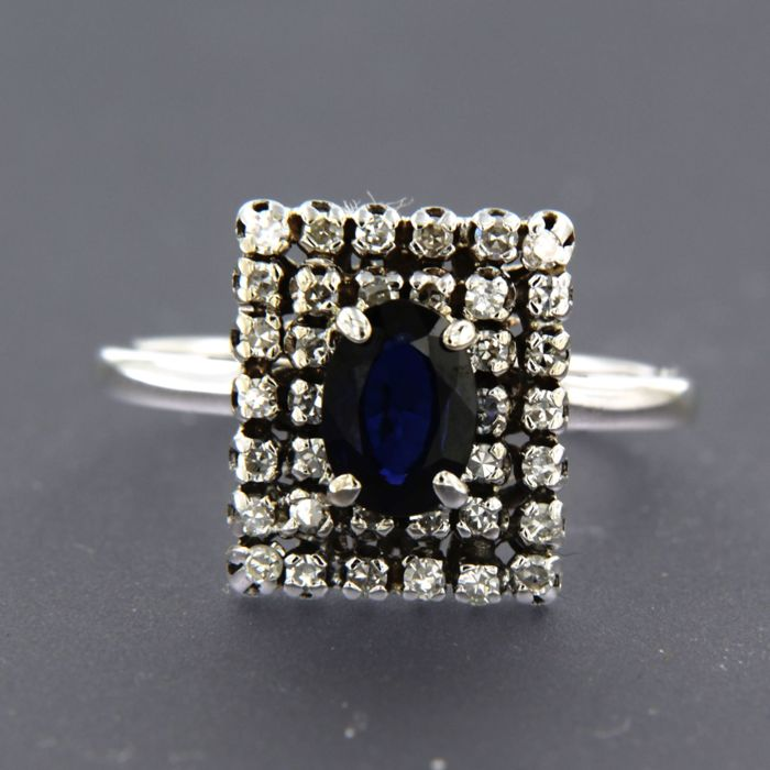18 kt. White gold - Ring - 0.20 ct Diamond - Sapphire