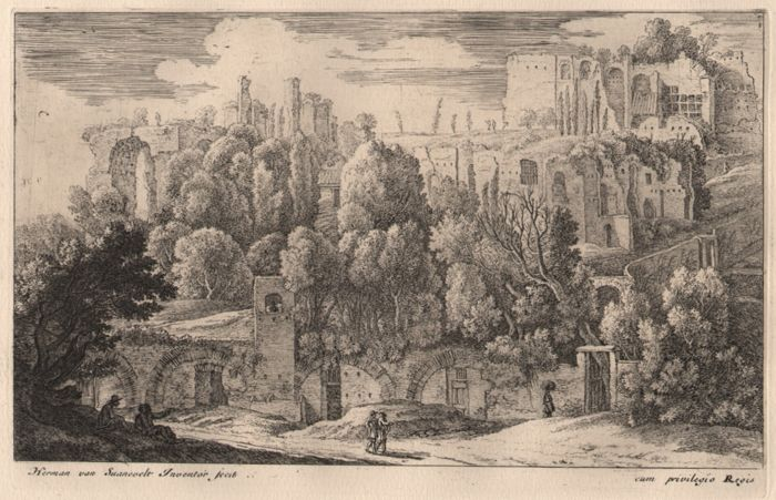 Herman Van Swanevelt (1600-1655) - Landscape with the ruins of an amphitheatre