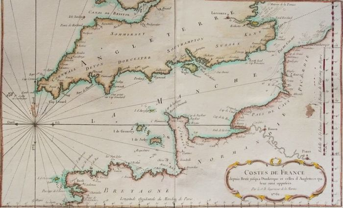 France England English Channel J N Bellin Costes De France