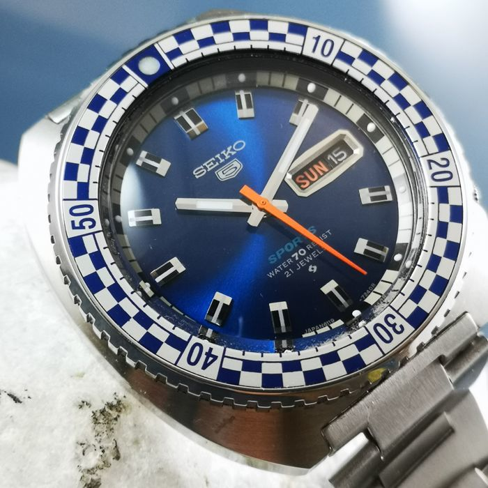 Seiko - 5 Blue Sports Speed Racing *Rally Diver* - Automatic Watch - Men - 1970-1979