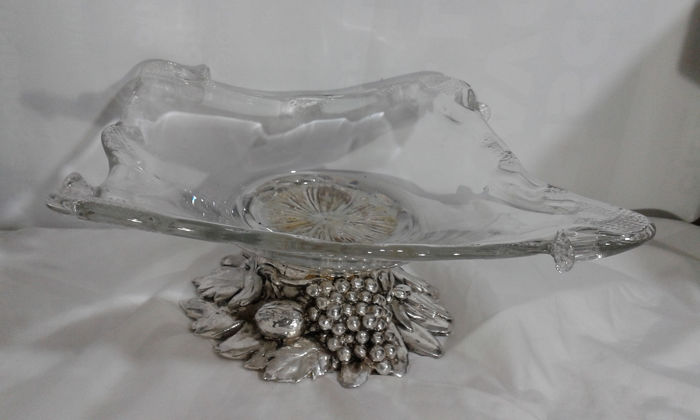 Centrotavolo - crystal with silver plate base - Italy - 1950-1999