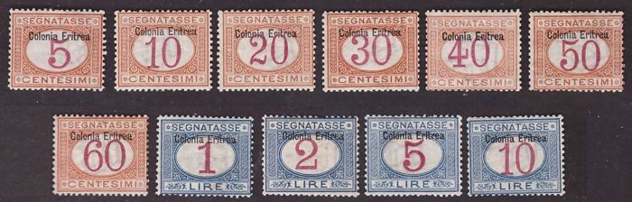"Italian Eritrea 1903 - Postage due set with ""Somalia Italiana"" overprint at the top - Sassone NN. 1/11"