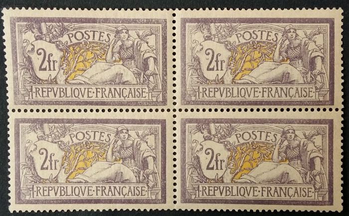 France 1900 - Merson, 2 f. purple and yellow, block of 4 - Yvert 122