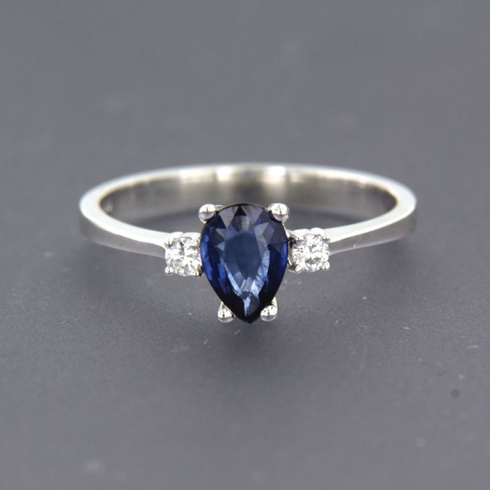 18 kt. White gold - Ring - 0.08 ct Diamond - Sapphire