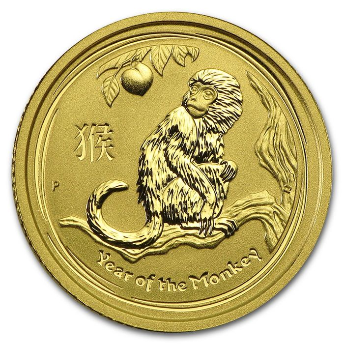 Australia - 15 Dollars 2016 Year of the Monkey - 1/10 oz  - Gold
