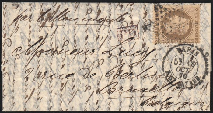 Frankrijk 1870 - 'Le Lafayette' Balloon mail bound for Belgium