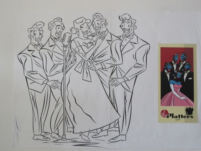 Lapone, Antonio - Couverture originale - 'The Platters'  - on 2 glued sheets (2006)