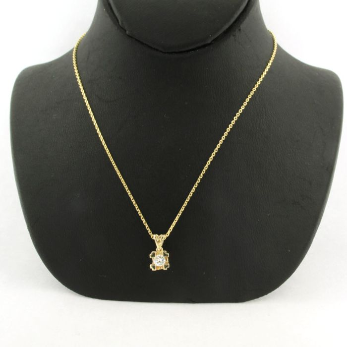 14 kt. Yellow gold - Necklace with pendant - 0.14 ct Diamond