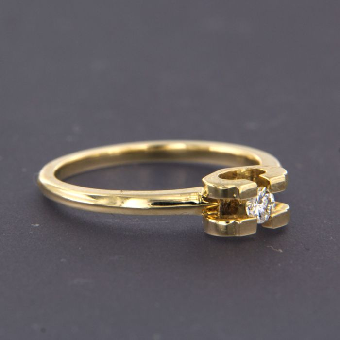 14 kt Gelbgold - Ring - 0.09 ct Diamant