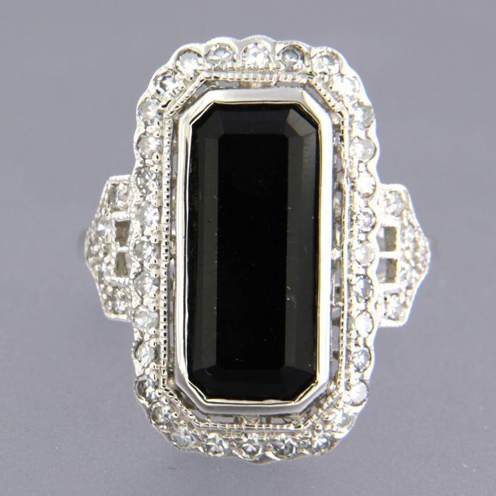 14 kt. White gold - Ring - 0.58 ct Diamond - onyx