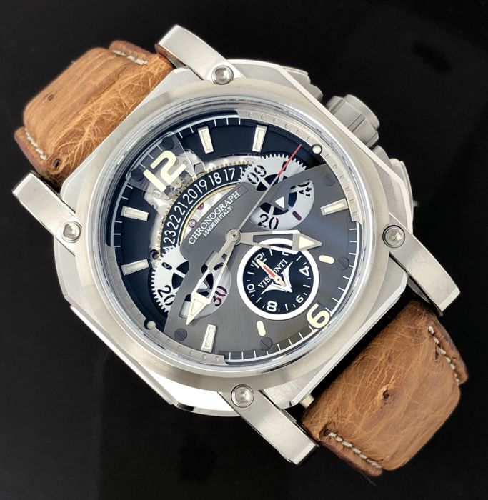 Visconti - Automatic Watch 2-Squared Chrono Silver Shadow  - KW35-01 - Heren - NEW