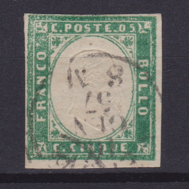 Szardínia 1855 - 5 cents emerald green - Sassone N. 13d