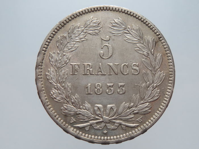 France - 5 Francs 1833-W Louis Philippe I - Silver