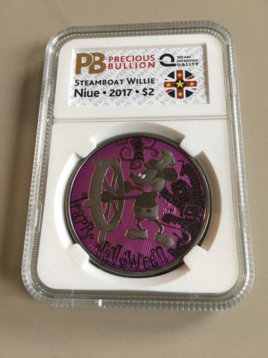 Niue - 2 Dollar 2017 Steamboat Willie Mickey Mouse - Halloween - 1 Oz - Silver