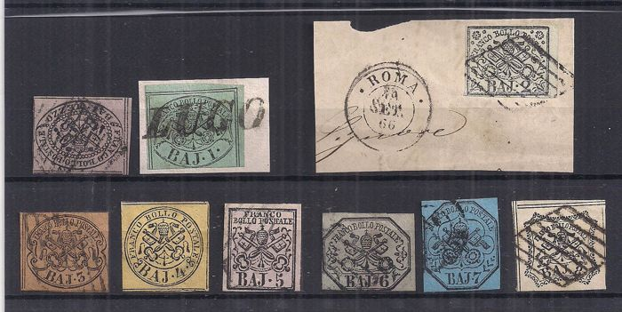 Pontifikaatti 1852 - Selection of stamps of the first issue - Sassone NN. 1/9