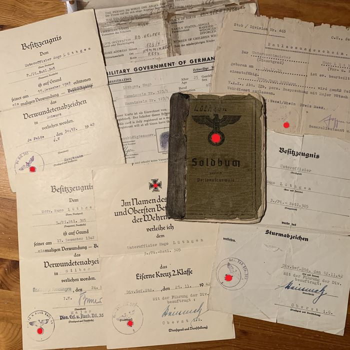 8 pcs. of Documents from Germany incl. Soldbuch - 3. Kompanie Pionier-Bataillon 305 - This soldier was awarded EK2, Sturmabzeichen etc.