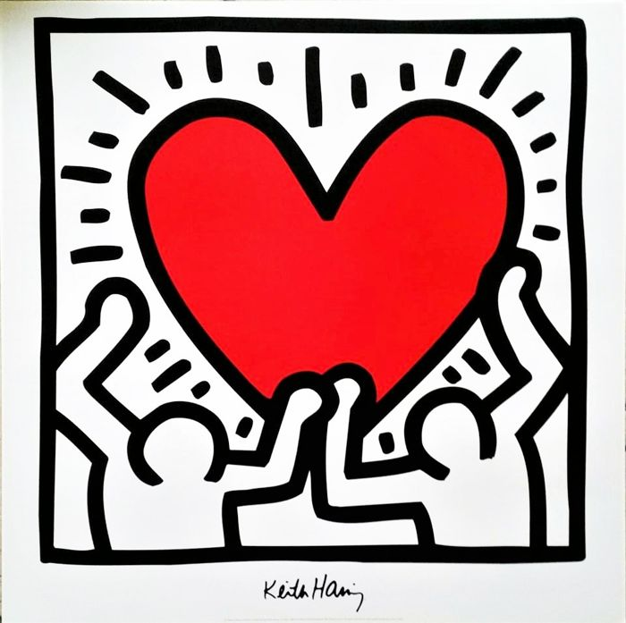 Keith Haring - Untitled (red heart) - Jaren 1990