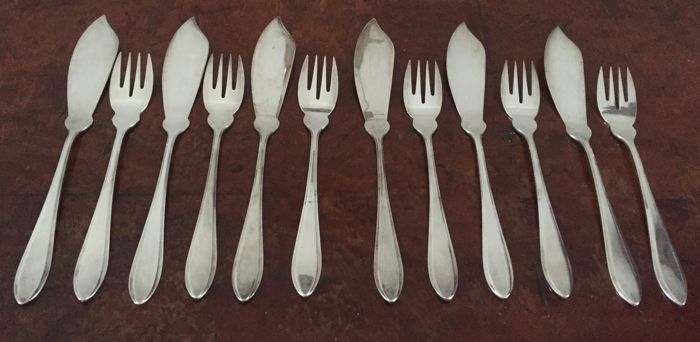 Cutlery set (12) - Silver plated - gero HS - Netherlands - 1900-1949