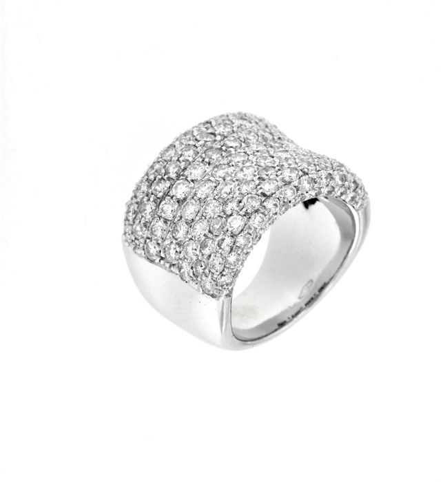 Made in Italy - 18 quilates Oro blanco - Anillo - 5.00 ct Diamante