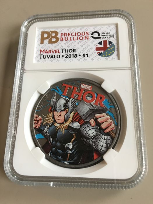Tuvalu - 1 Dollar 2018 Marvel Thor - Ruthenium & Coloured 1 oz - Silver