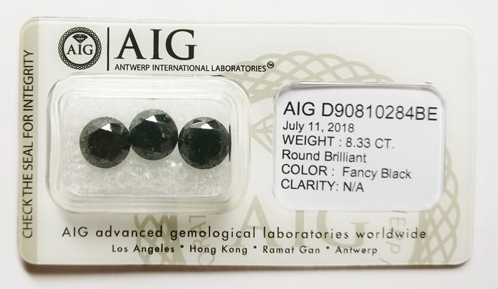 3 pcs Diamanter - 8.33 ct - Rund - Fargebehandlet - fancy black - N/A