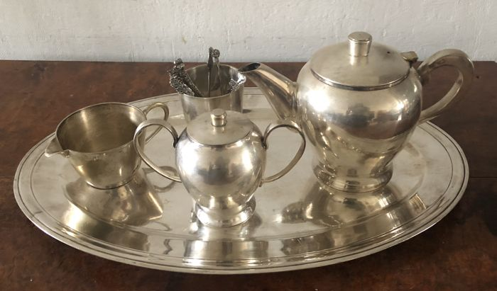 tray, Boulanger & coffee / tea set - Silver plated - France - second half of 20 century