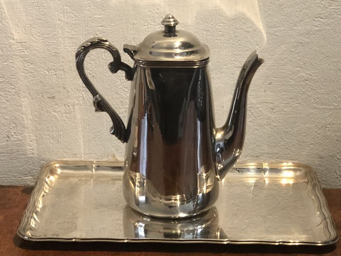 Art Nouveau  silver plated tray & teapot - Silverplate
