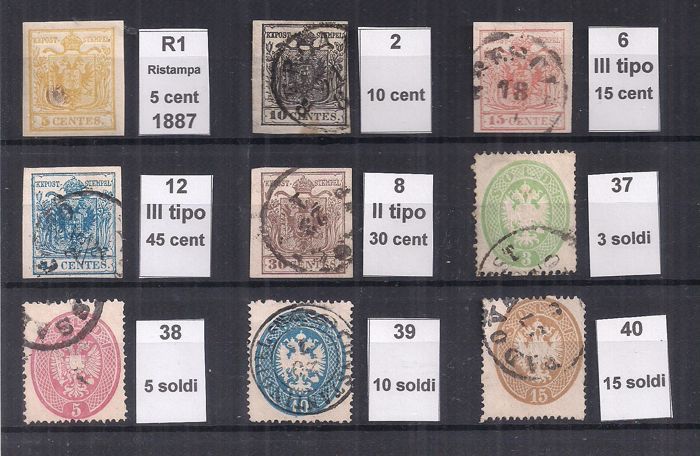 Lombardia–Venetia 1852/1863 - Selection of stamps - various issues - Sassone vari