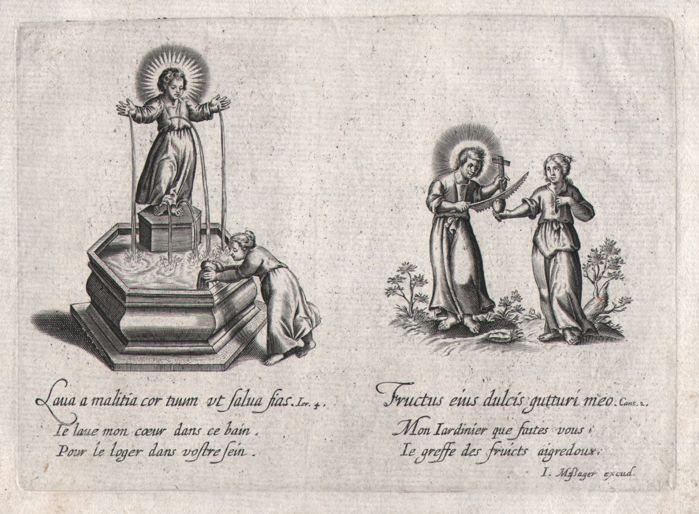 Michiel Van Lochom ( 1601-1647 ) Jean Messager - Four proofs with emblems of love