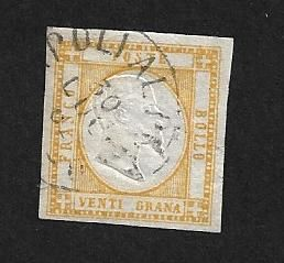 "Neapolitan provinces 1861 - 20 gr. yellow with cancellation ""Napoli al Porto"" - Sassone N. 23"