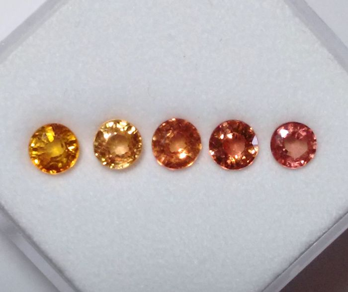 5 pcs Orange - Padparadscha - Red Sapphire - 1.35 ct