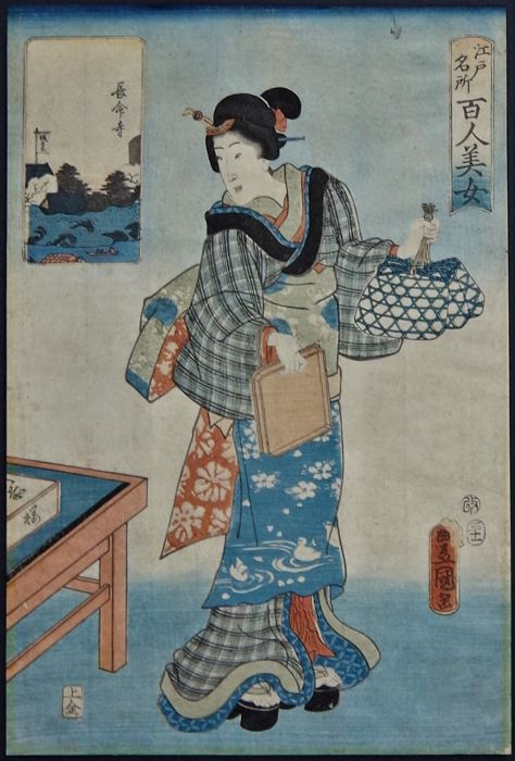 "Origineel houtblok print - Utagawa Kunisada (1786-1865) - 'Chômei-ji Temple' - From the series ""One Hundred Beautiful Women at Famous Places in Edo"" - 1857"