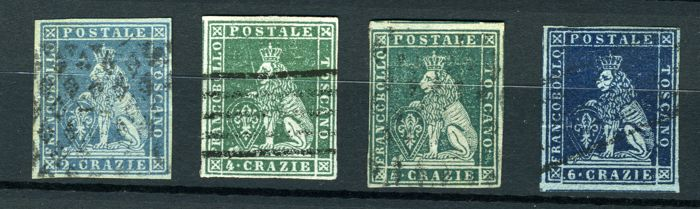 Toscana 1851 - Four values of the 1st issue on grey paper - Sassone NN. 5-6-7