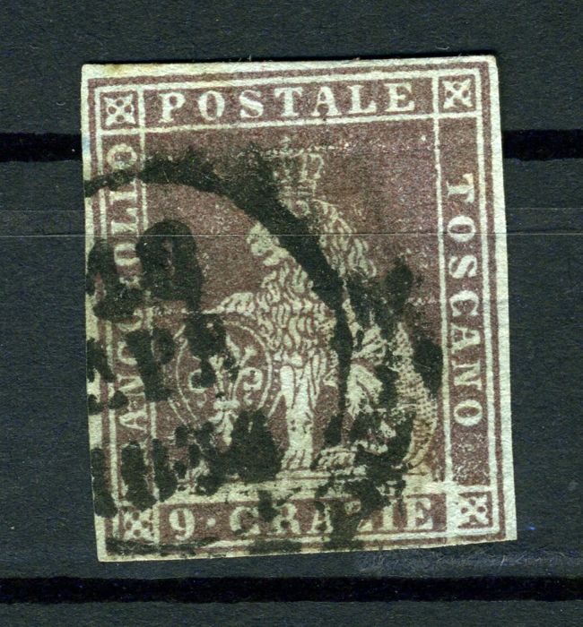 Toscana 1851 - 9 crazie purplish brown on light blue - Sassone N. 8b