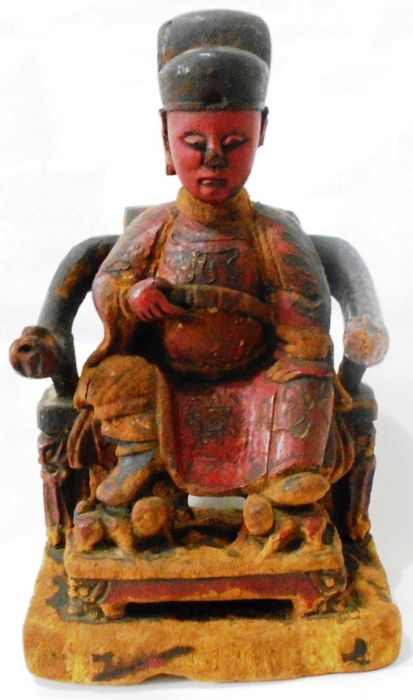 Skulptur - Holz - Antique Red Lacquered Wood Chinese Official Statue - Taiwan - 19. Jahrhundert