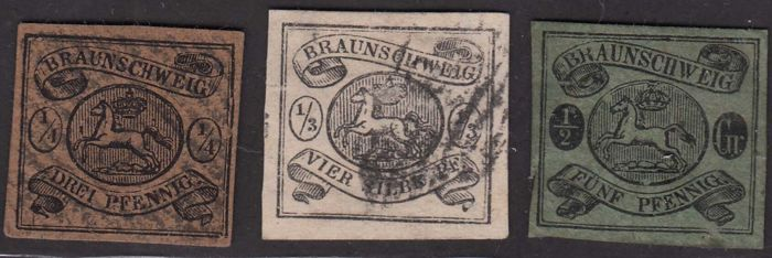 Brunswick 1853/1865 - Coat of arms, 1/4s + 1/3s. + 1/2s. + 1s. + 3s. - Unificato N. 4, 5, 6, 7, 9