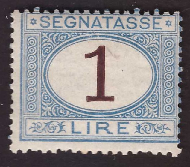 Italy Kingdom 1870 - Postage due 1 lira light blue and brown - Sassone N. 11