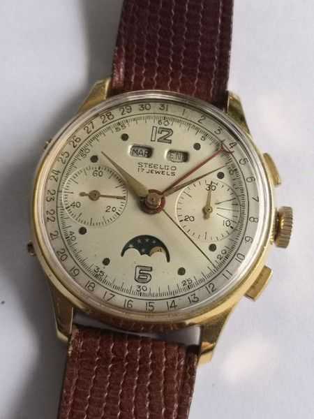 Steelco - perfect beautiful vintage triple calendar moonphase chronograph  - Men - 1950-1959