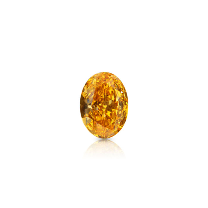 1 pcs Diamante - 0.28 ct - Ovalado - fancy vivid yellowish orange - VS2