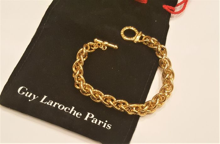 GUY LAROCHE 22kt vergulde massieve Twisted Cain armband