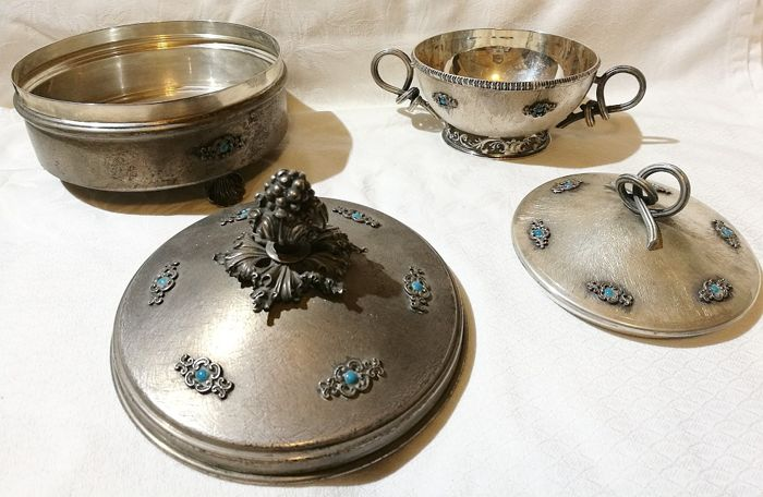 Biscuit and Sugar Bowl with Turquoise Set - .800 silver - Italy - 1950-1999
