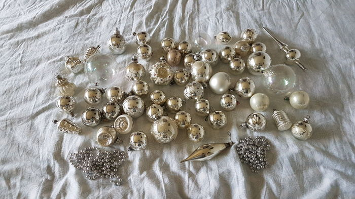 Lot of silver old / antique Christmas decorations - 57 pcs. - Glass