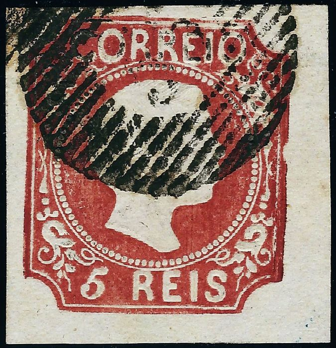Portugal 1855 - Dom Pedro V, brown red, smooth hair, type II. - Mundifil 5