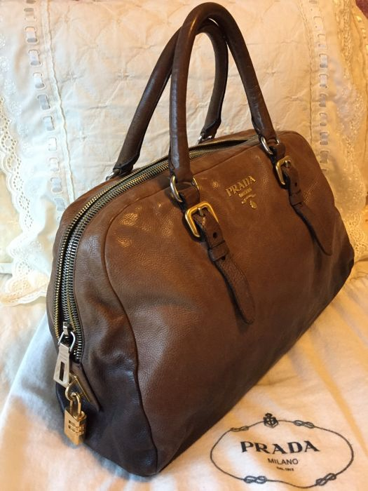 Prada - Bowling handbag in brown shading leather Handbag - Catawiki 3ddd415a940cd